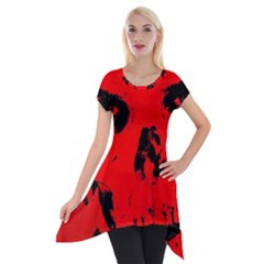Halloween Face Horror Body Bone Short Sleeve Side Drop Tunic