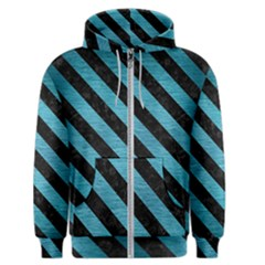 Stripes3 Black Marble & Teal Brushed Metal Men s Zipper Hoodie