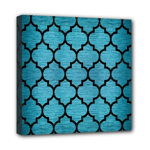 Tile1 Black Marble & Teal Brushed Metal Mini Canvas 8  X 8  by trendistuff