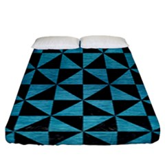 Triangle1 Black Marble & Teal Brushed Metal Fitted Sheet (california King Size) by trendistuff