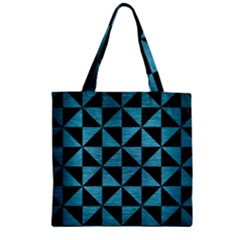Triangle1 Black Marble & Teal Brushed Metal Zipper Grocery Tote Bag by trendistuff
