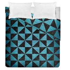 Triangle1 Black Marble & Teal Brushed Metal Duvet Cover Double Side (queen Size) by trendistuff