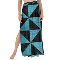 Triangle1 Black Marble & Teal Brushed Metal Maxi Chiffon Tie Up Sarong