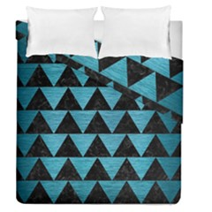 Triangle2 Black Marble & Teal Brushed Metal Duvet Cover Double Side (queen Size)