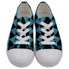 Triangle2 Black Marble & Teal Brushed Metal Kids  Low Top Canvas Sneakers