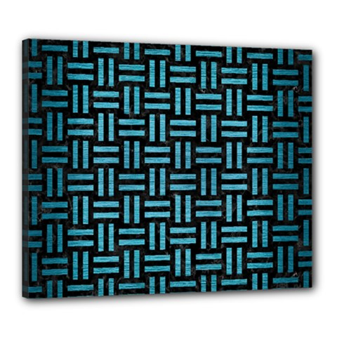 Woven1 Black Marble & Teal Brushed Metal (r) Canvas 24  X 20  by trendistuff