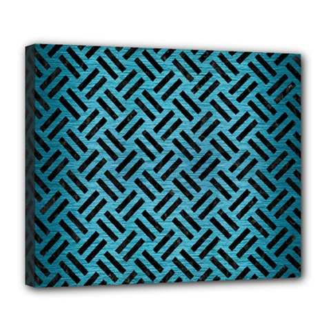 Woven2 Black Marble & Teal Brushed Metal Deluxe Canvas 24  X 20   by trendistuff