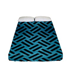 Woven2 Black Marble & Teal Brushed Metal Fitted Sheet (full/ Double Size) by trendistuff