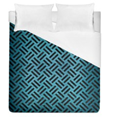 Woven2 Black Marble & Teal Brushed Metal Duvet Cover (queen Size) by trendistuff