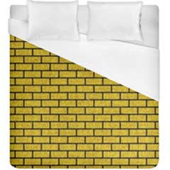 Brick1 Black Marble & Yellow Denim Duvet Cover (king Size) by trendistuff