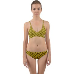 Brick2 Black Marble & Yellow Denim Wrap Around Bikini Set