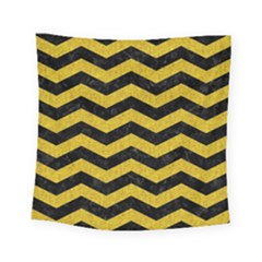 Chevron3 Black Marble & Yellow Denim Square Tapestry (small) by trendistuff