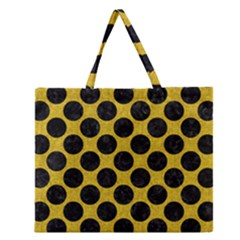 Circles2 Black Marble & Yellow Denim Zipper Large Tote Bag by trendistuff