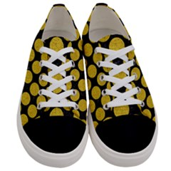 Circles2 Black Marble & Yellow Denim (r) Women s Low Top Canvas Sneakers