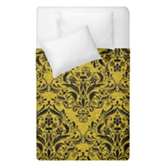 Damask1 Black Marble & Yellow Denim Duvet Cover Double Side (single Size) by trendistuff