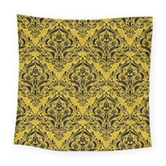 Damask1 Black Marble & Yellow Denim Square Tapestry (large) by trendistuff