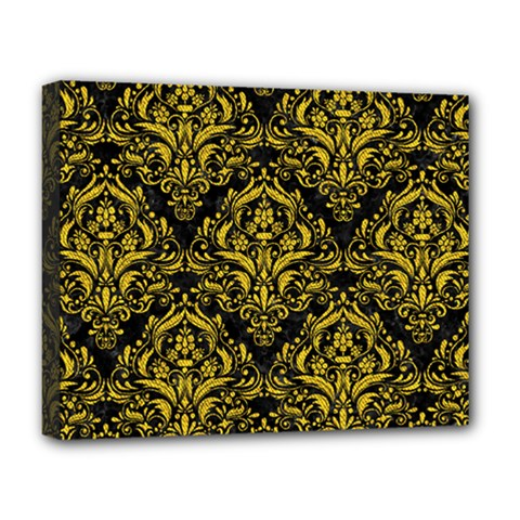 Damask1 Black Marble & Yellow Denim (r) Deluxe Canvas 20  X 16   by trendistuff