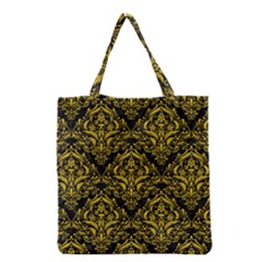 Damask1 Black Marble & Yellow Denim (r) Grocery Tote Bag by trendistuff