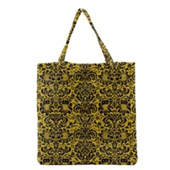 Damask2 Black Marble & Yellow Denim Grocery Tote Bag by trendistuff