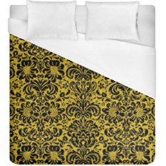 Damask2 Black Marble & Yellow Denim Duvet Cover (king Size) by trendistuff