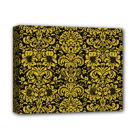 Damask2 Black Marble & Yellow Denim (r) Deluxe Canvas 14  X 11  by trendistuff