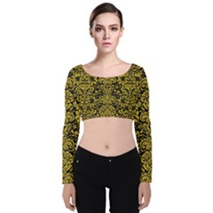Damask2 Black Marble & Yellow Denim (r) Velvet Long Sleeve Crop Top by trendistuff