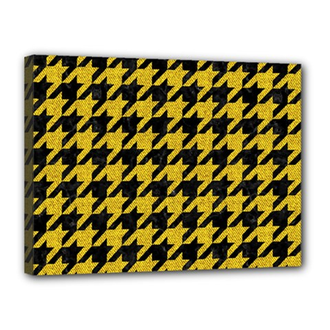 Houndstooth1 Black Marble & Yellow Denim Canvas 16  X 12  by trendistuff