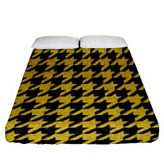Houndstooth1 Black Marble & Yellow Denim Fitted Sheet (california King Size) by trendistuff