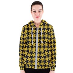 Houndstooth1 Black Marble & Yellow Denim Women s Zipper Hoodie