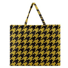 Houndstooth1 Black Marble & Yellow Denim Zipper Large Tote Bag by trendistuff