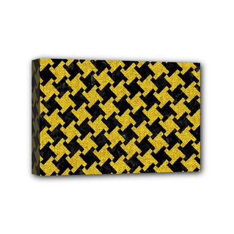 Houndstooth2 Black Marble & Yellow Denim Mini Canvas 6  X 4  by trendistuff