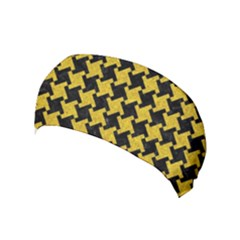 Houndstooth2 Black Marble & Yellow Denim Yoga Headband by trendistuff