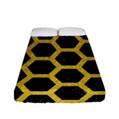 Hexagon2 Black Marble & Yellow Denim (r) Fitted Sheet (full/ Double Size) by trendistuff