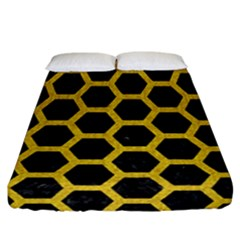 Hexagon2 Black Marble & Yellow Denim (r) Fitted Sheet (california King Size) by trendistuff