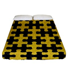 Puzzle1 Black Marble & Yellow Denim Fitted Sheet (queen Size) by trendistuff