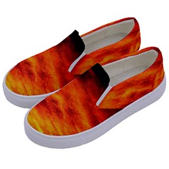 Black Yellow Red Sunset Kids  Canvas Slip Ons by Costasonlineshop