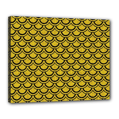 Scales2 Black Marble & Yellow Denim Canvas 20  X 16  by trendistuff