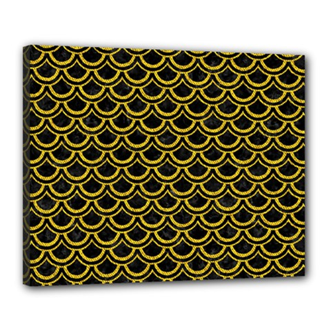 Scales2 Black Marble & Yellow Denim (r) Canvas 20  X 16  by trendistuff