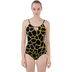 Skin1 Black Marble & Yellow Denim Cut Out Top Tankini Set