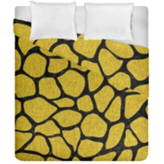 Skin1 Black Marble & Yellow Denim (r) Duvet Cover Double Side (california King Size) by trendistuff