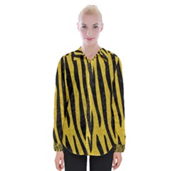 Skin4 Black Marble & Yellow Denim (r) Womens Long Sleeve Shirt