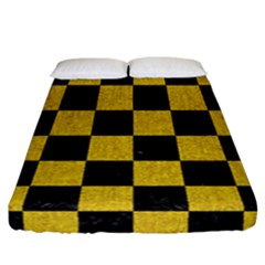 Square1 Black Marble & Yellow Denim Fitted Sheet (california King Size) by trendistuff