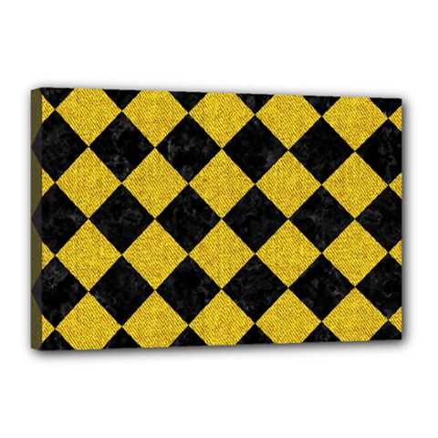 Square2 Black Marble & Yellow Denim Canvas 18  X 12  by trendistuff