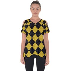 Square2 Black Marble & Yellow Denim Cut Out Side Drop Tee