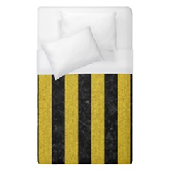 Stripes1 Black Marble & Yellow Denim Duvet Cover (single Size) by trendistuff