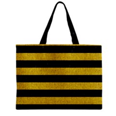 Stripes2 Black Marble & Yellow Denim Zipper Mini Tote Bag by trendistuff