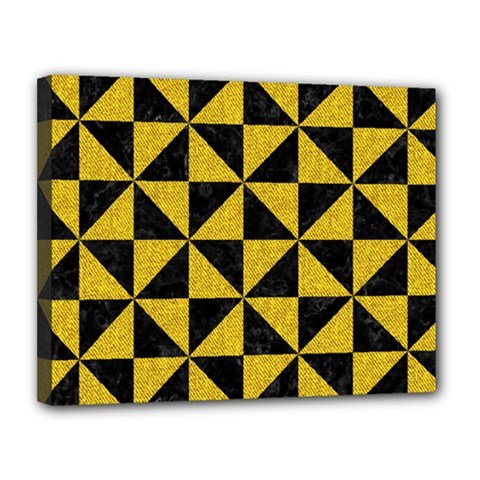 Triangle1 Black Marble & Yellow Denim Canvas 14  X 11  by trendistuff