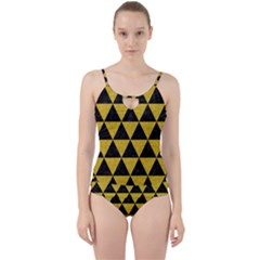 Triangle3 Black Marble & Yellow Denim Cut Out Top Tankini Set by trendistuff
