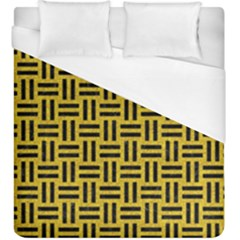 Woven1 Black Marble & Yellow Denim Duvet Cover (king Size) by trendistuff