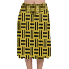 Woven1 Black Marble & Yellow Denim Velvet Flared Midi Skirt by trendistuff